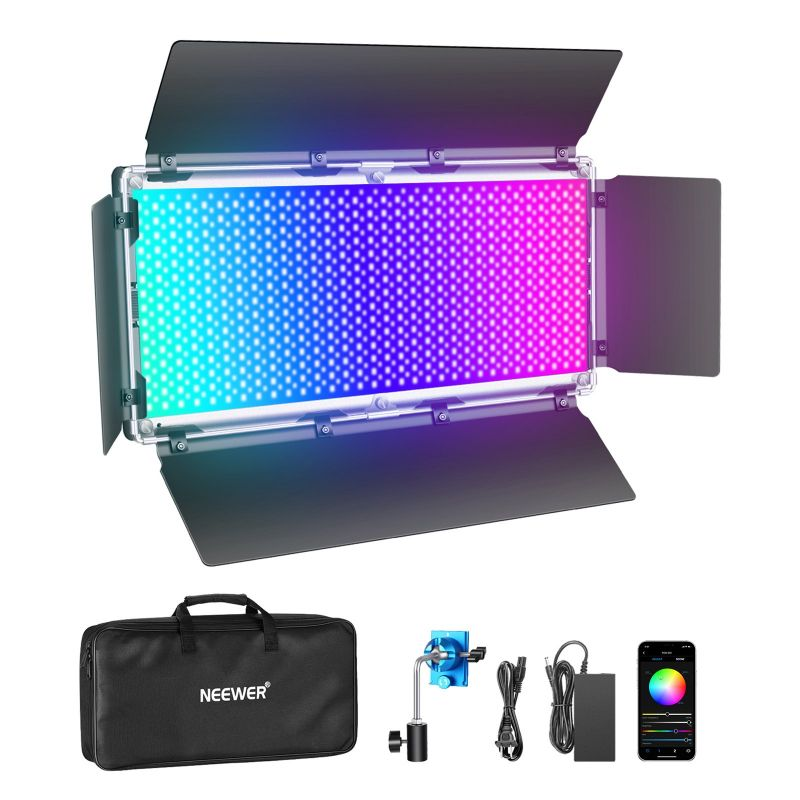 Neewer 960 Rgb Led Light With App Control With Lcd Screen/barndoor, Metal Frame