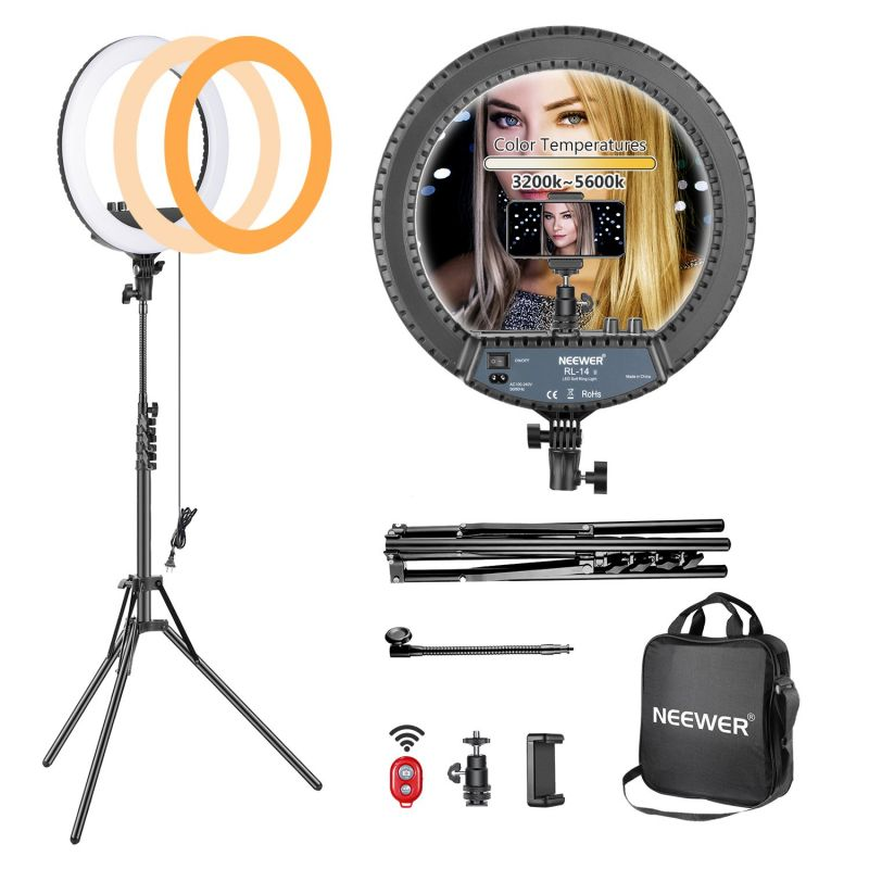 """Neewer 14"""" Dimmable Bi-color Ring Light And Stand Kit With Carrying Bag"""
