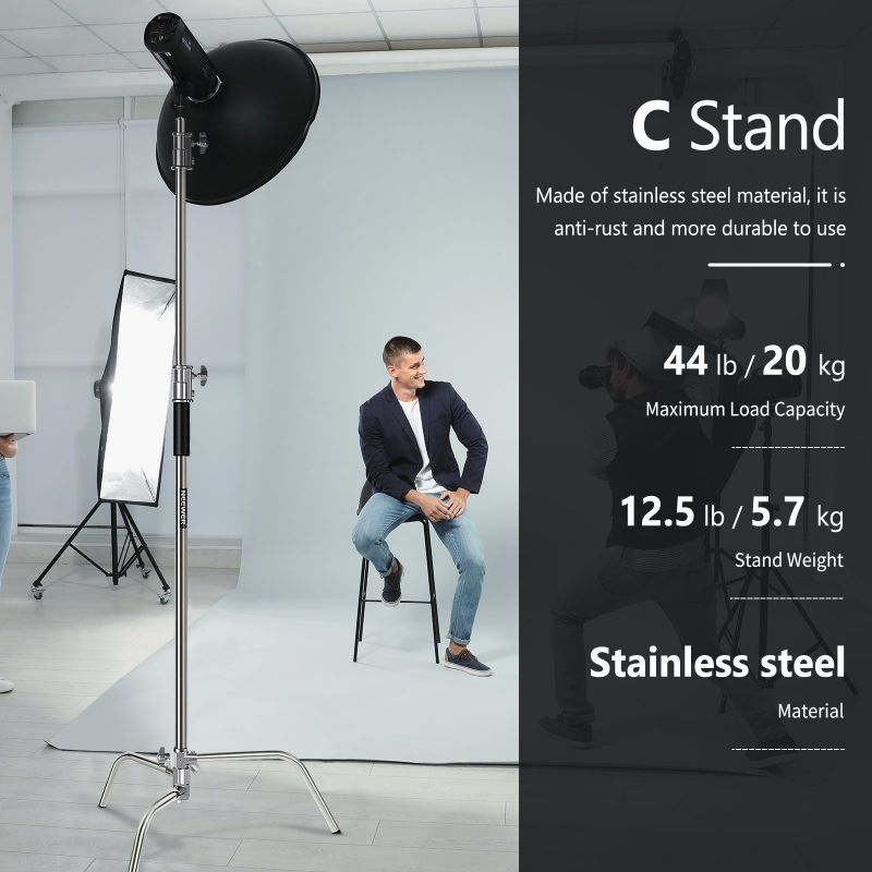 Neewer Stainless Steel C Light Stand With Detachable Base