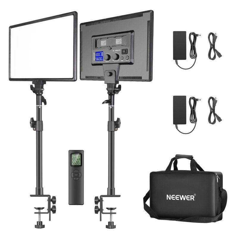 """Neewer 2-pack Dimmable Bi-color 18"""" 45w 97+cri Led Panel Light C-clamp Stand With 2.4g Remote Kit"""