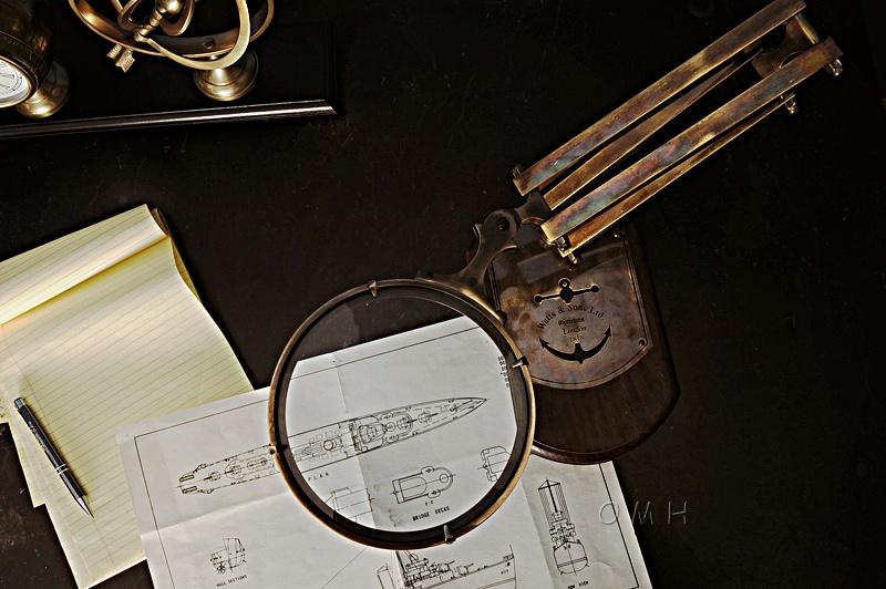Brass Big Magnifier Glass W/ Wooden Base
