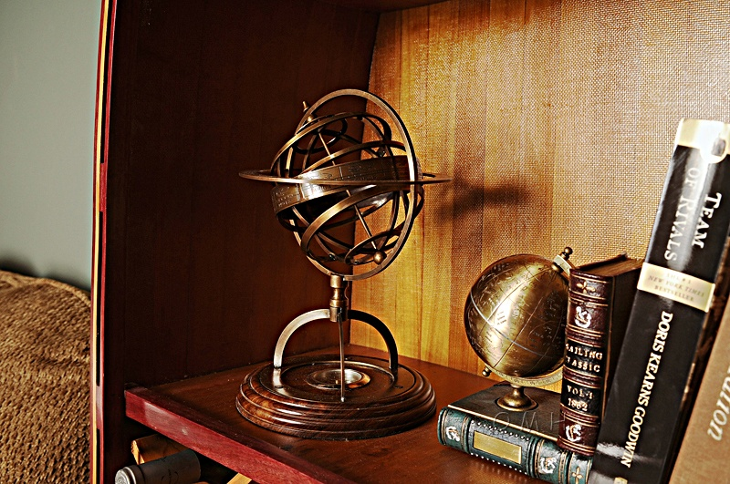 Brass Armillary With Compass On Wood Base