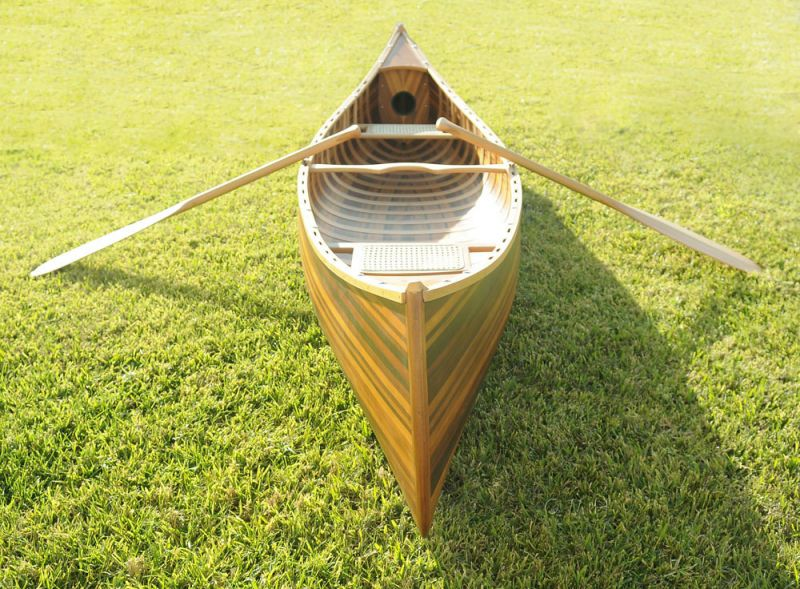 Wooden Canoe With Ribs Curved Bow Matte Finish 12 Ft