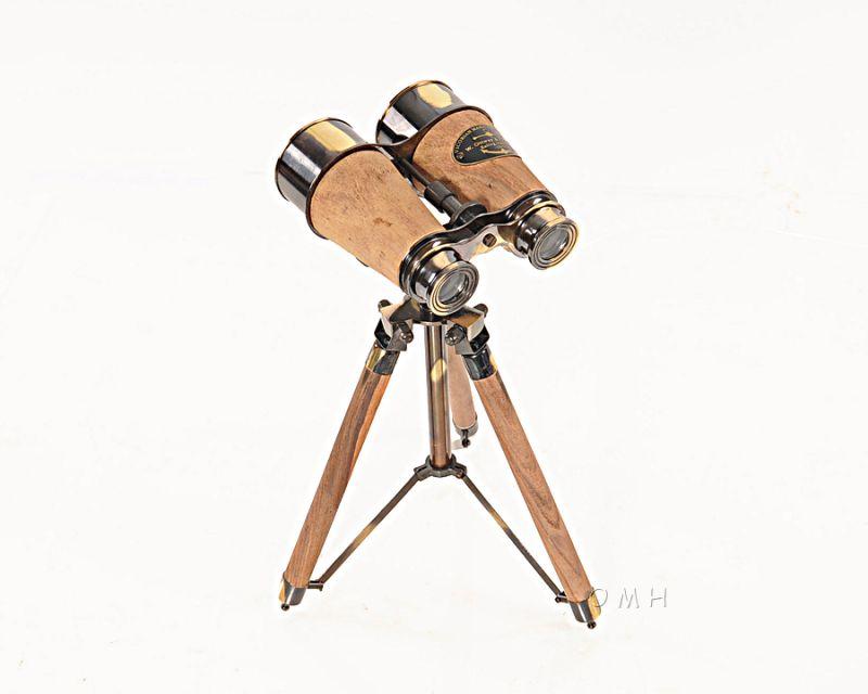 Wood/Brass Binocular On Stand