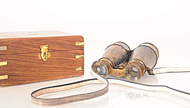 Binocular W Leather Overlay In Wood Box