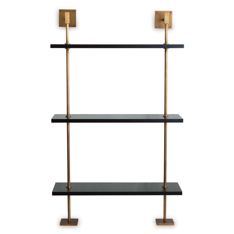 """Marais 3-Tier Black/Brass Shelf 36""""w"""