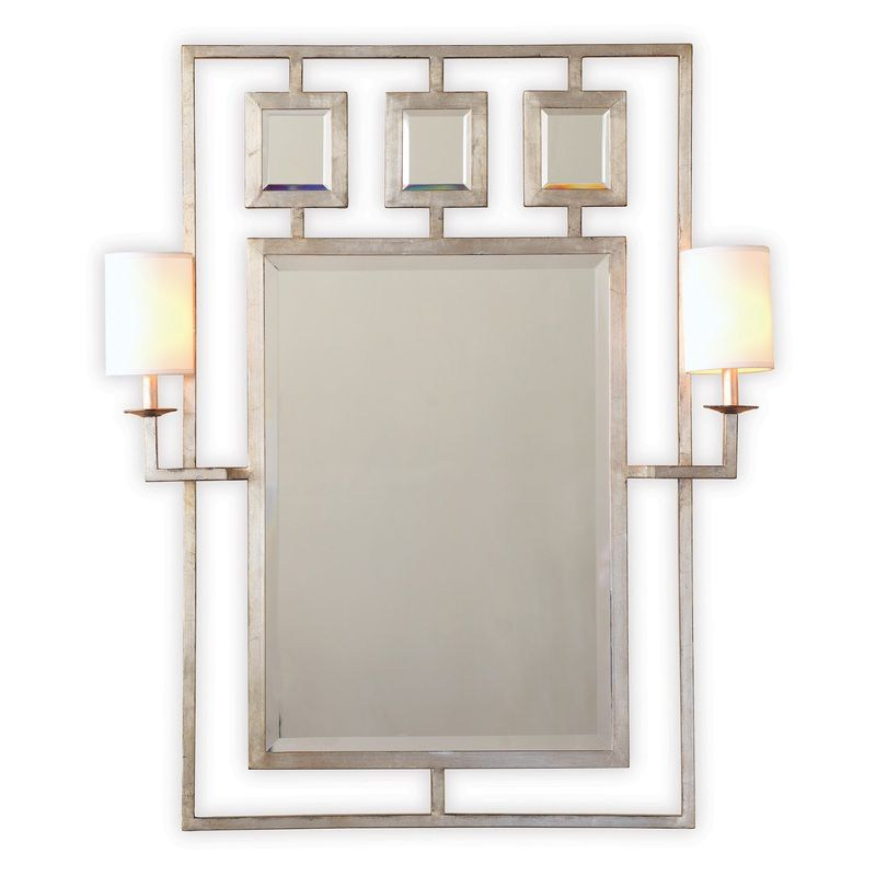 "Avenue Silver Mirror W/Sconces 46""h"