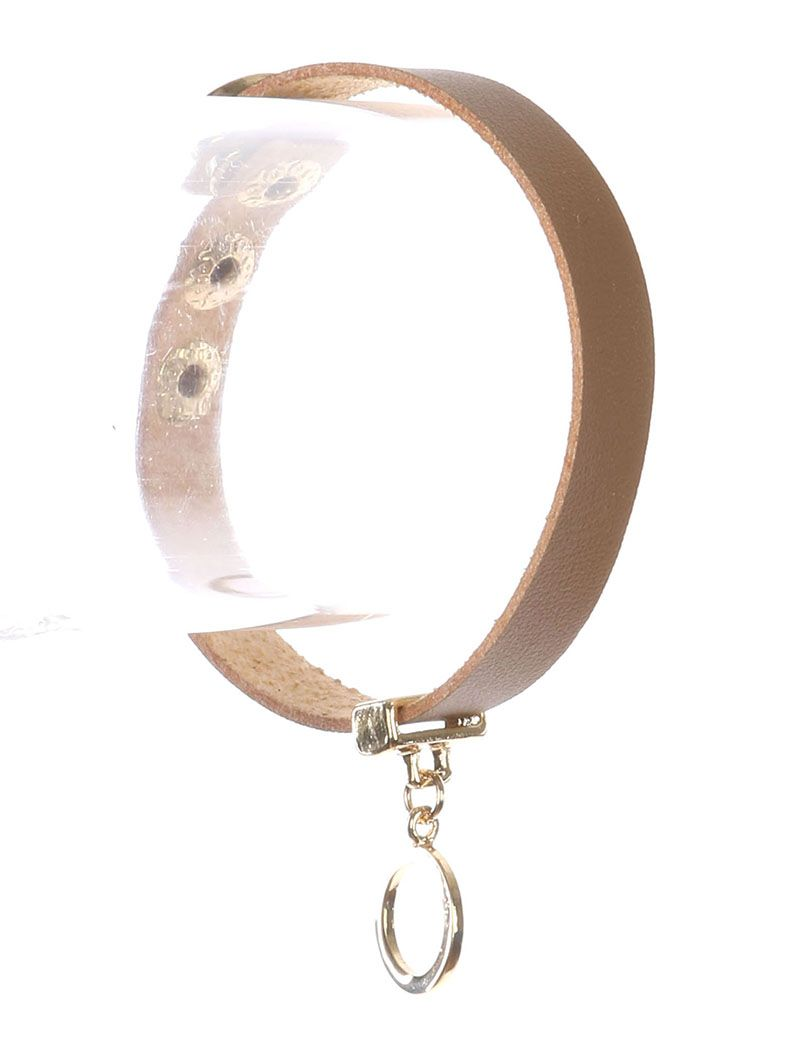 Metal Ring Charm Faux Leather Band Snap Button Closure