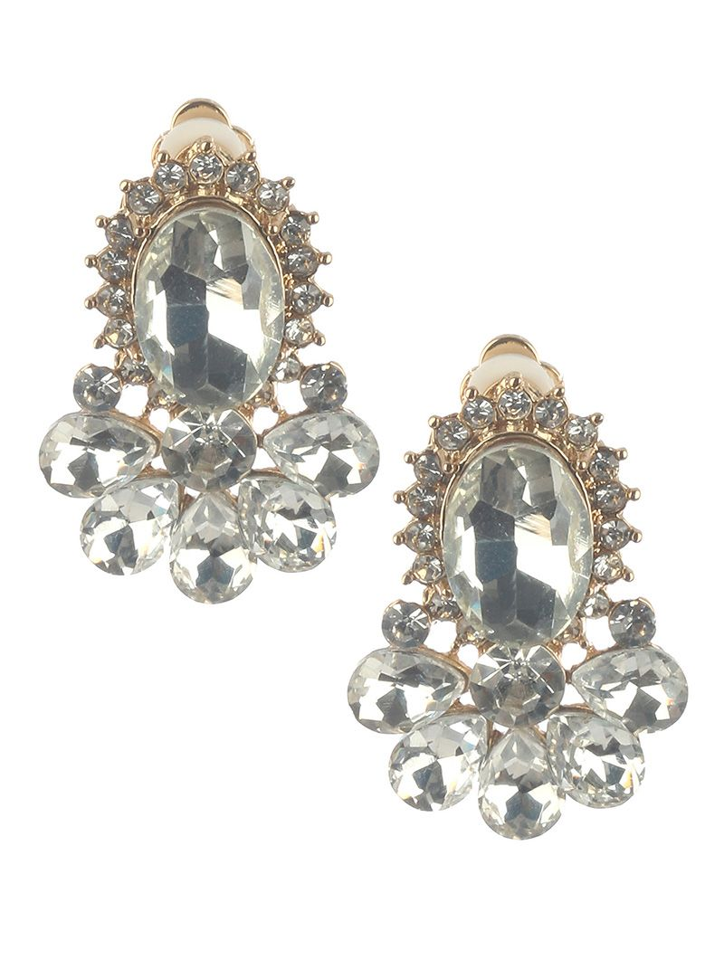 Oval Glass Stone Clip On Crystal Stone Cluster