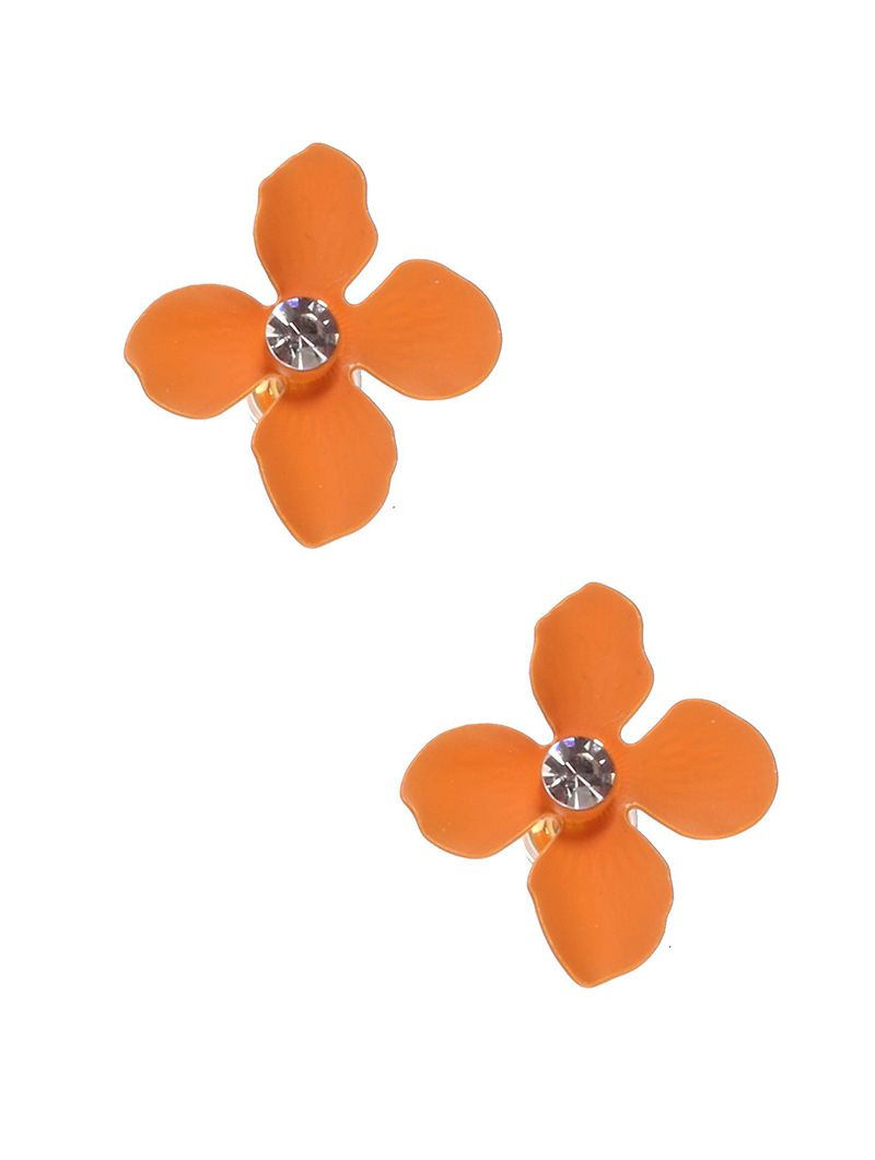 4 Patal Flower Crystal Post Pin