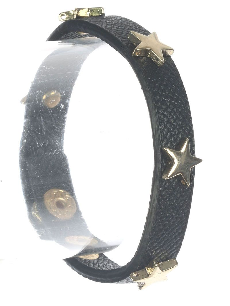 Metal Star Stud Faux Leather Band Snap Button Closure