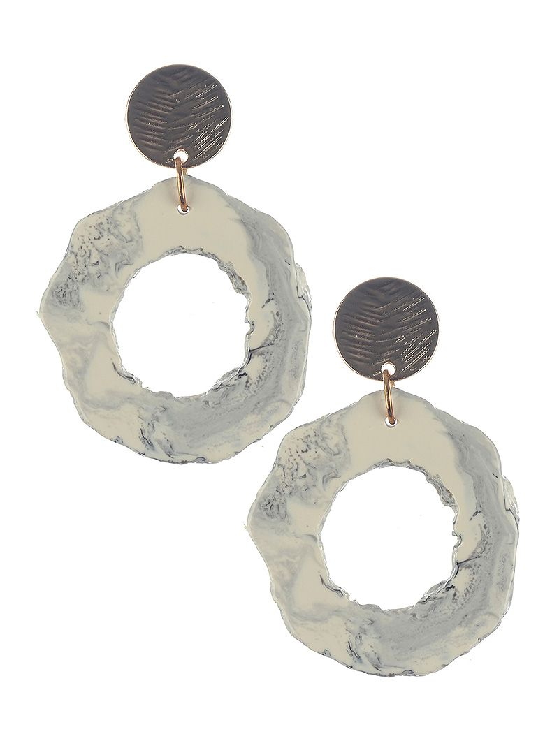 Natural Stone Finish Irregular Shape Dangle Cutout Round Stone