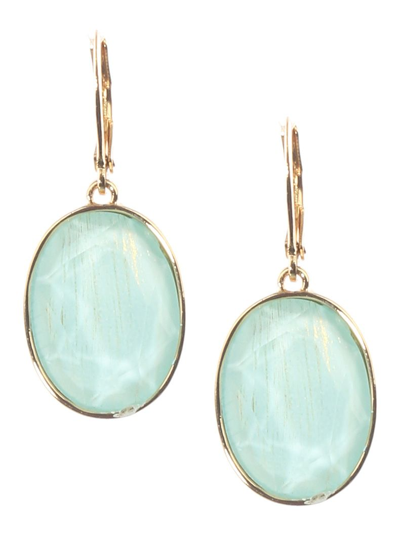 Faceted Translucent Oval Stone Charm Metal Frame