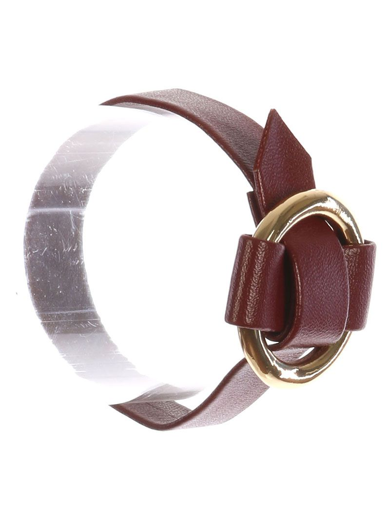 Metal Ring Buckle Faux Leather Adjustable 7 1