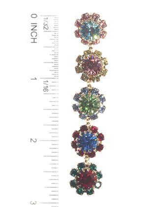 Post Pin Flower Crystal Stone