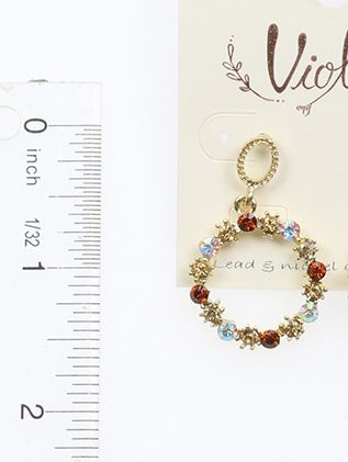 Round Dangle Crystal Stone Post Pin
