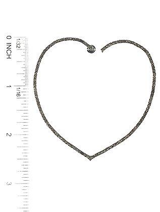 Heart Shape Rhinestone Metal Hoop Post Pin