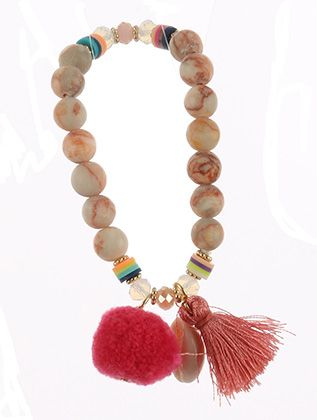 Natural Stone Wooden Bead Stretch Seashell Charm