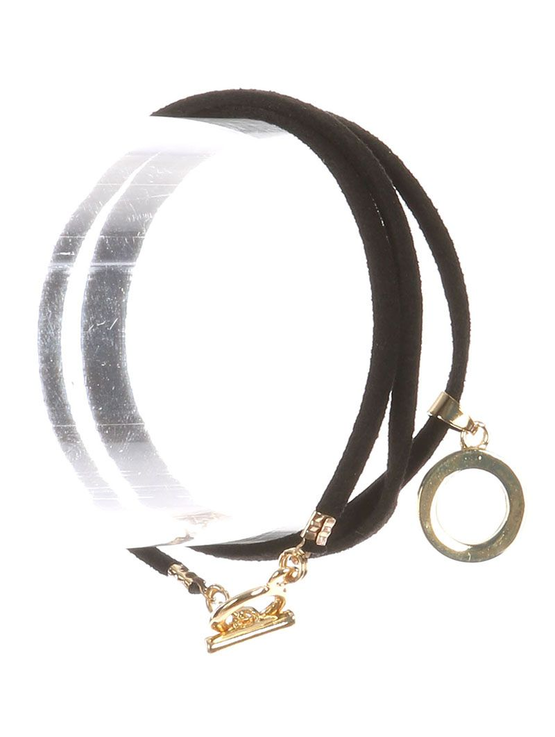 Metal Ring Charm Faux Suede Wraparound Toggle Closure