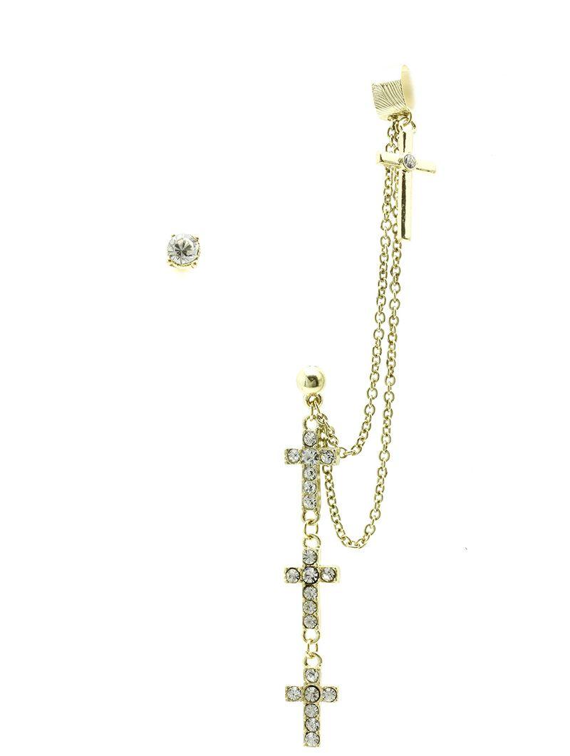 Layered Metal Cross Chain Drop Cuff Crystal Stone