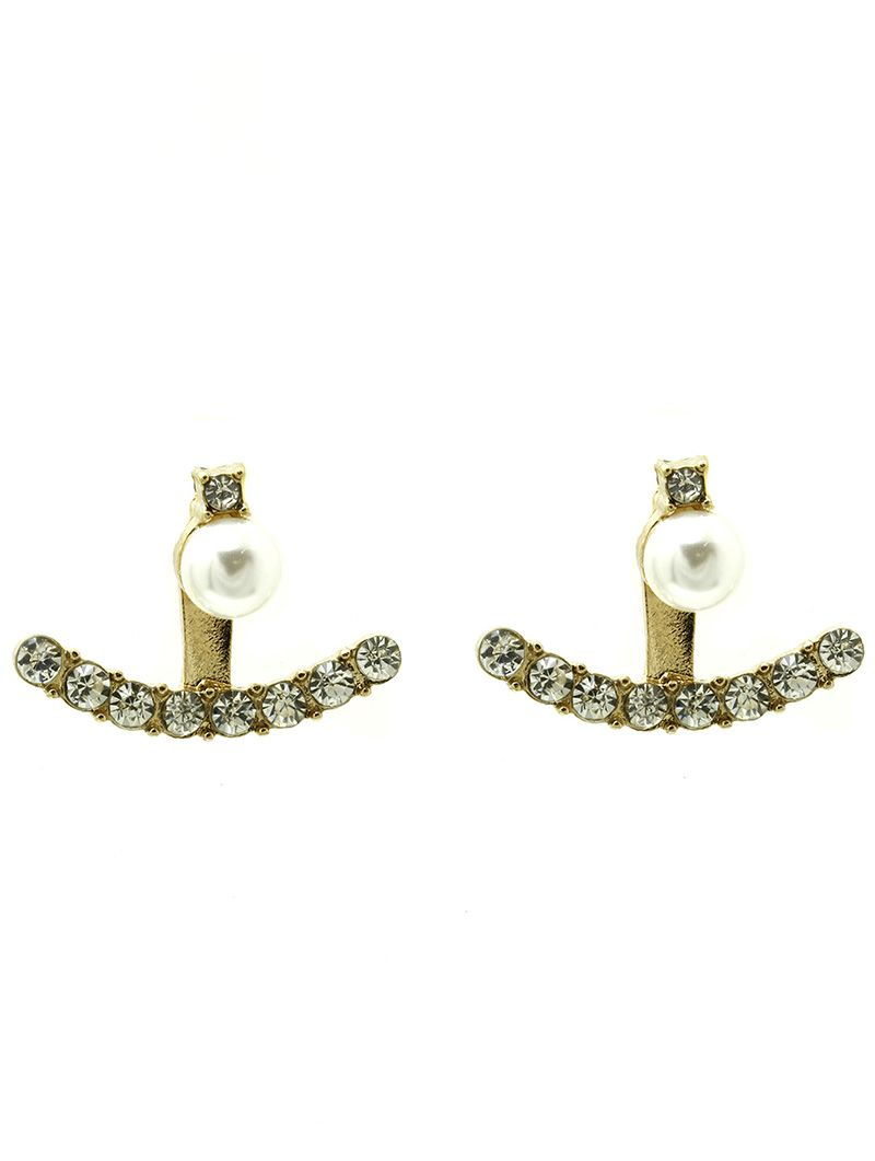 Double Sided Pearl Ear Jacket Pave Crystal Stone