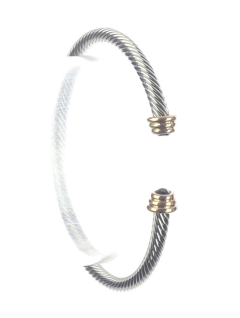 Twisted Metal Cuff Lucite Stone