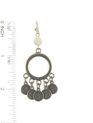 Mini Coin Charm Metal Ring Natural Stone Finish
