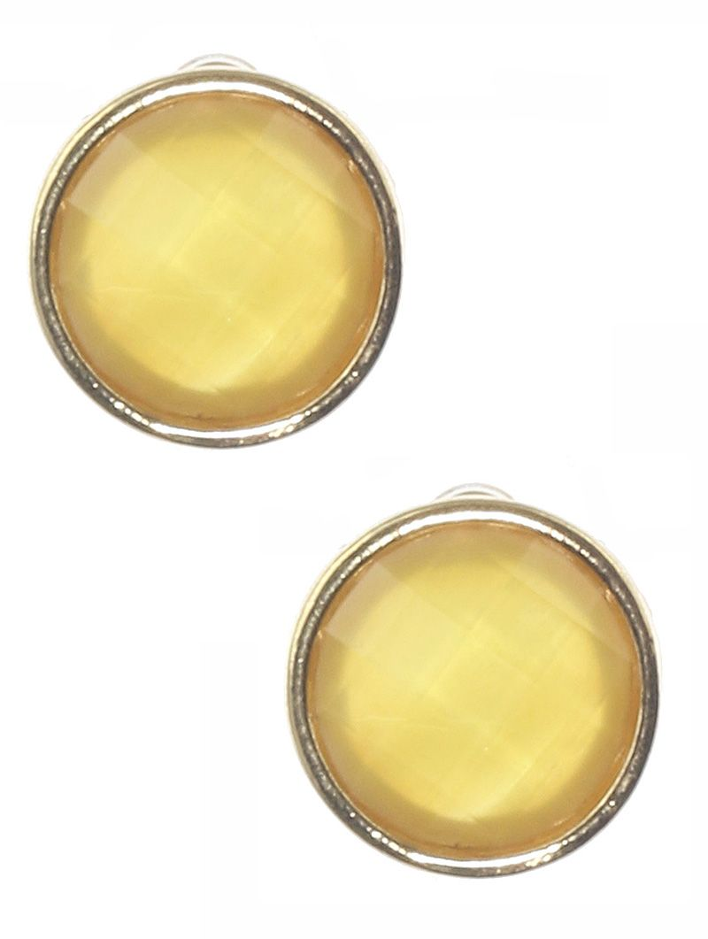 Faceted Iridescent Round Stone Metal Frame