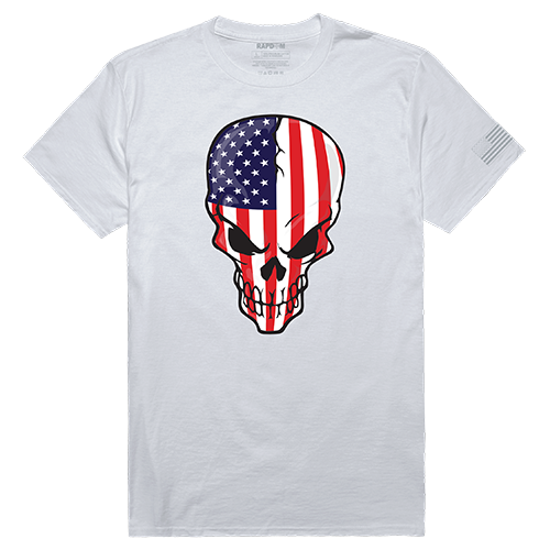 Tactical Graphic T, Skull Flag, Wht, Xl