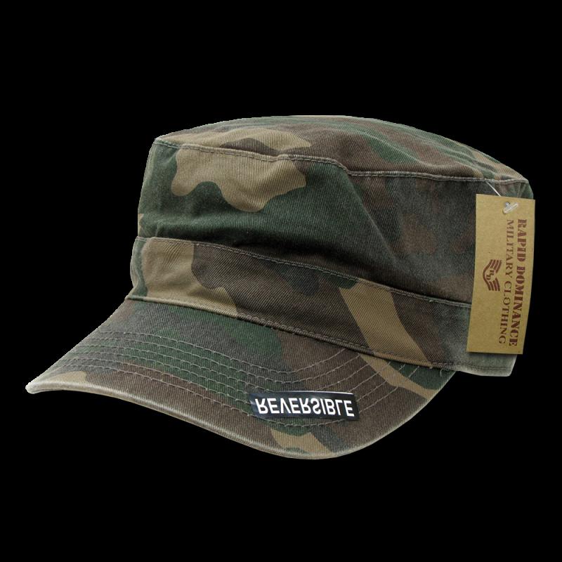 Reversible Flat Top Caps, Woodland Camo