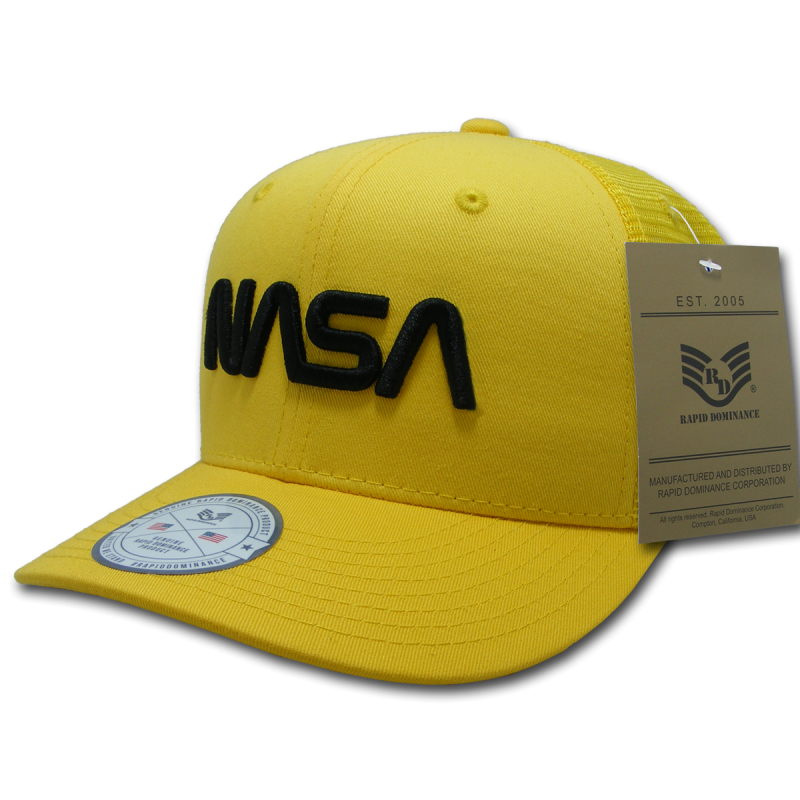 Nasa Cotton Trucker Cap, Worm, Yellow