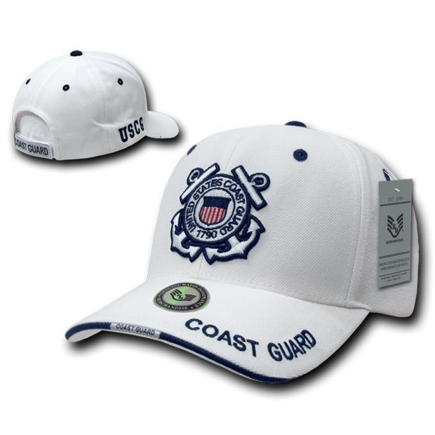 White Military Caps, Coast Guard, Wht
