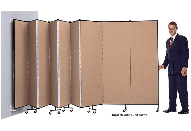 """Screenflex 9 Panel WALLmount™ Room Divider: 6'H x 16'6""""L, Upgraded Fabric and Vinyl Colors"""