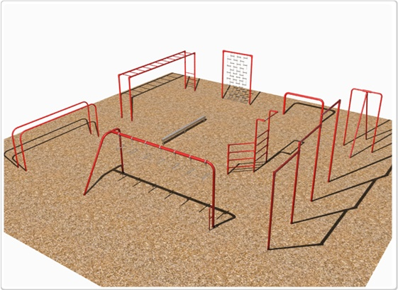 SportsPlay 9 Unit Course with Ladder - Playground Fitness Equipment