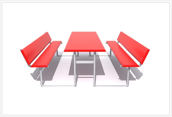 """SportsPlay Rectangular Picnic Table with Back: 2 3/8"""", Perforated - Playground Picnic Tables"""