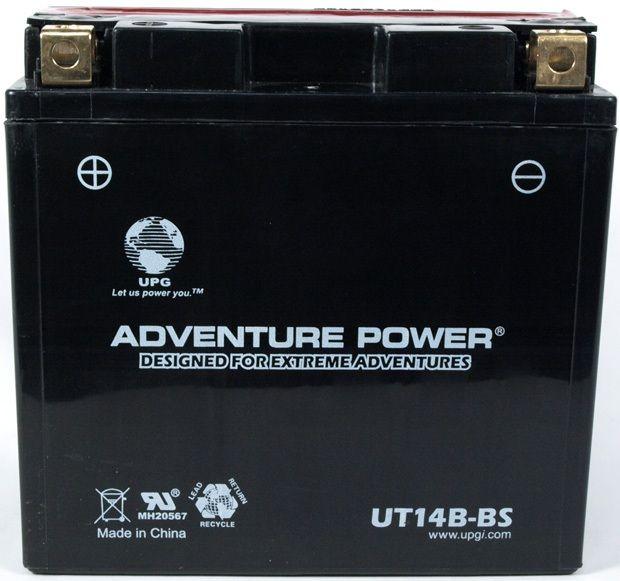 UPG Adventure Power Sealed Lead Acid Dry Charge AGM: UT14B-BS, 12 AH, 12V
