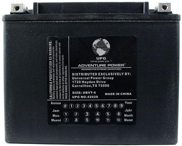UPG Adventure Power Sealed Lead Acid: UBVT-6, 22 AH, 12V