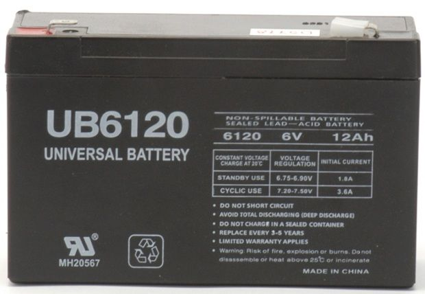 UPG Sealed Lead Acid AGM: UB6120, 12 AH, 6V, F2