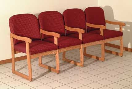 Wooden Mallet™ Prairie Four Seat Chair with Center Arms: Sled Base