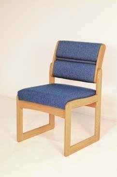 Wooden Mallet™ Dakota™ Valley Armless Guest Chair: Designer Fabrics, Sled Base