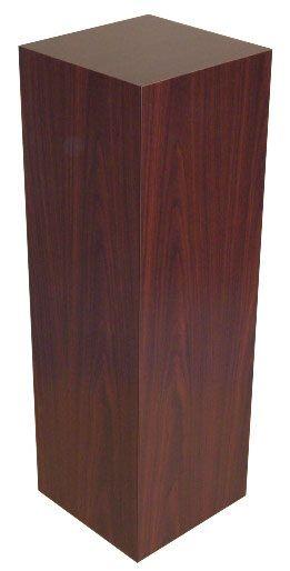 "Xylem Mahogany Stained Wood Veneer Pedestal: 18"" x 18"" Base"